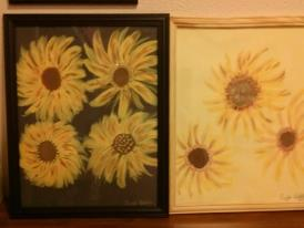 two flower paintings
